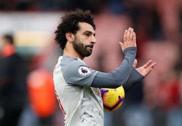 Liverpoolský kanonýr Mohamed Salah na hřišti Bournemouthu.