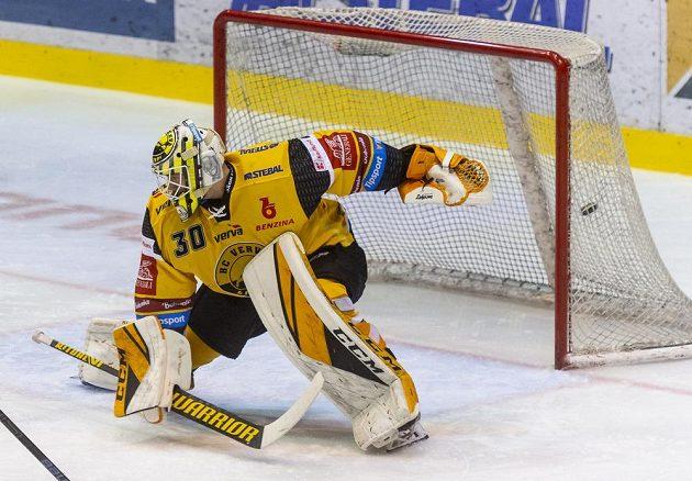 Brankář Litvínova David Honzík inkasuje gól.