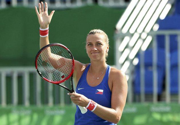 Petra Kvitová je spokojená. S Ukrajinkou Elinou Svitolinovou ztratila ve čtvrtfinále olympijského turnaje pouhé dva gamy.