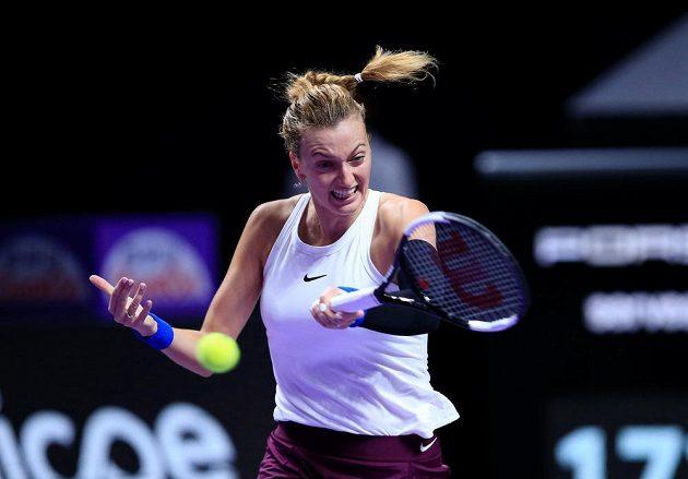 Petra Kvitová během svého závěrečného utkání ve skupině na Turnaji mistryň.