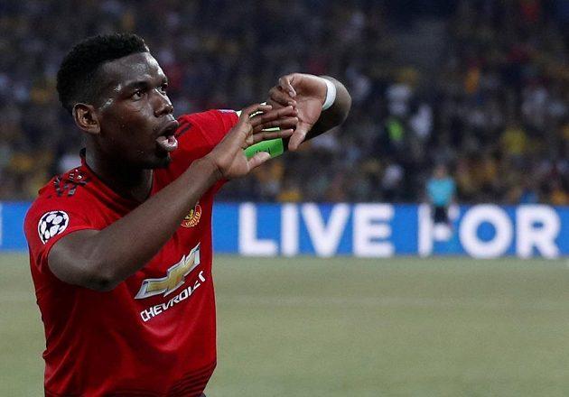 Paul Pogba z Manchesteru United oslavuje gól proti Young Boys v Lize mistrů.