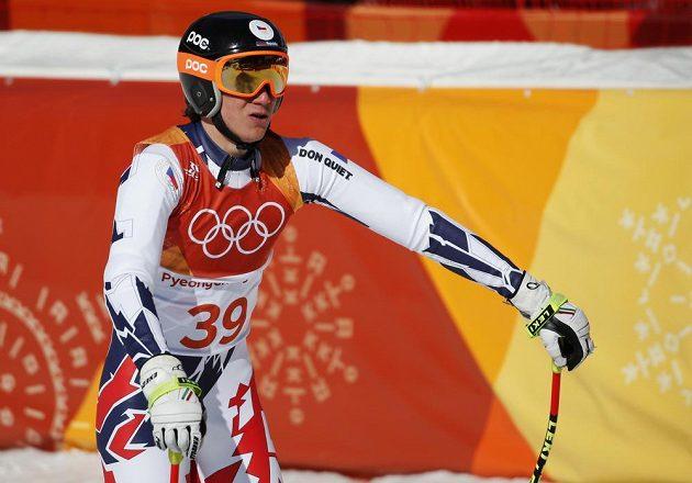 Český lyžař Jan Zabystřan po kombinačním sjezdu olympijského závodu.