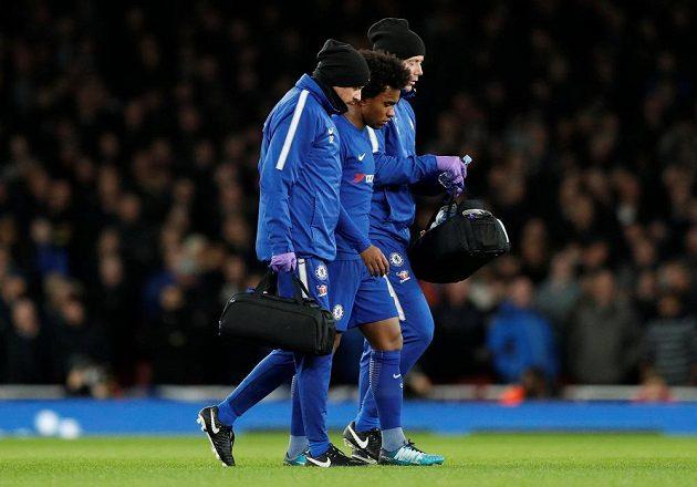 Už ve 30. minutě musel předčasně ze zápasu pro zranění odstoupit záložník Chelsea Willian.