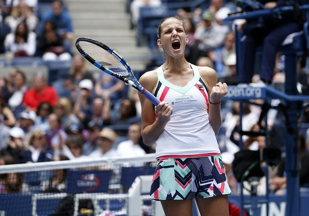 Karolína Plíšková oslavuje bouřlivě postup do osmifinále US Open.