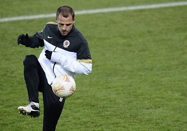 Sparťanský záložník Marek Matějovský na středečním tréninku před utkáním Evropské ligy s Chelsea.