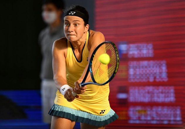 Lotyška Anastasija Sevastovová ve finále exhibičního turnaje v Berlíně. e