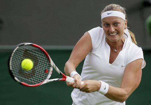 Česká jednička Petra Kvitová v úvodním kole Wimbledonu.