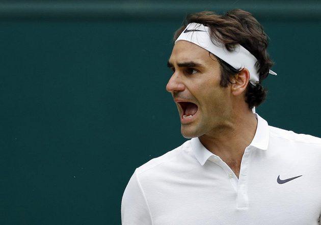 Emoce Rogera Federera v semifinále Wimbledonu.
