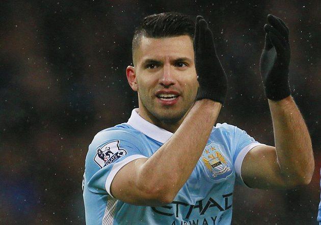 Sergio Agüero jásá po gólu Manchesteru City.
