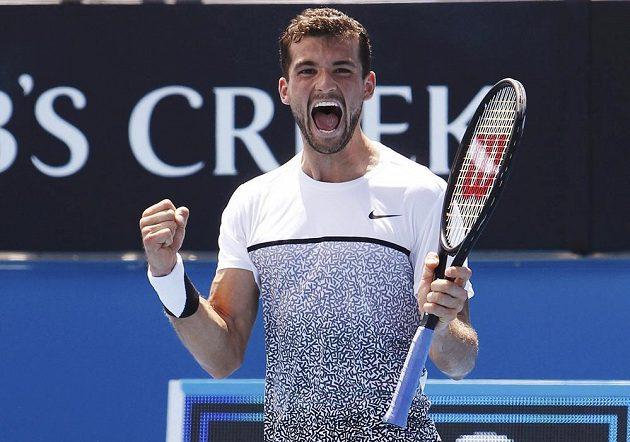 Grigor Dimitrov z Bulharska po vítězství nad Kypřanem Marcosem Baghdatisem na Australian Open.