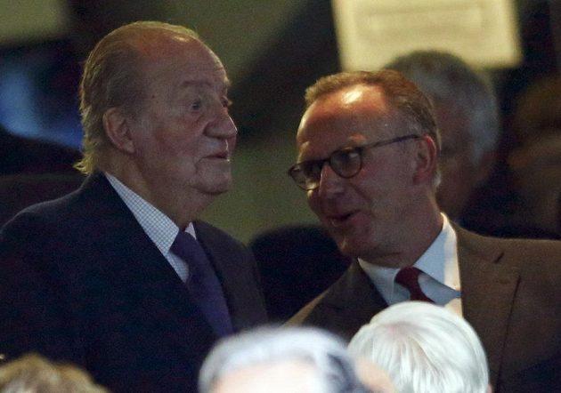 Semifinále LM v Madridu sledoval i španělský král Juan Carlos, vpravo jeden z šéfů Bayernu Karl-Heinz Rummenigge.