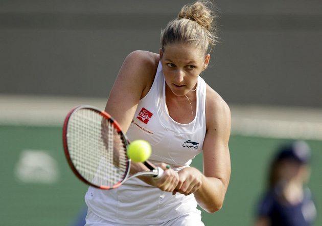 Česká tenista Kristýna Plíšková v utkání druhého kola Wimbledonu proti Světlaně Kuzněcovové.