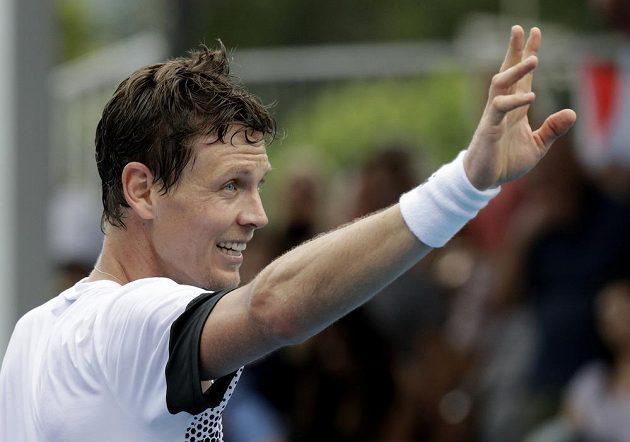 Oslava v podání českého tenisty Tomáše Berdycha na Australian Open.