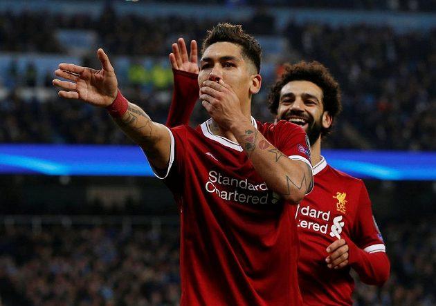 Liverpoolský fotbalista Roberto Firmino vstřelil vedoucí gól Reds na hřišti Manchesteru City v Lize mistrů.