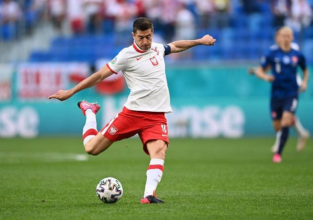 Polish national team gunner Robert Lewandowski shoots on goal during the EURO.
