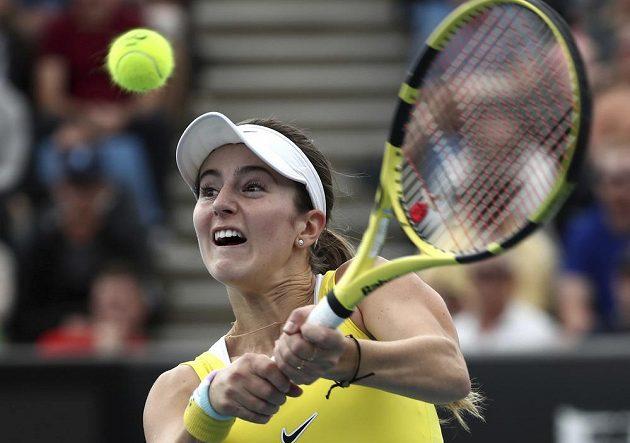 Americká tenistka CiCi Bellisová v akci během utkání s Karolínou Muchovou na Australian Open.