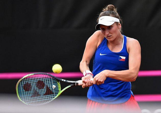 Česká tenistka Markéta Vondroušová v utkání s Leylah Fernandezovou z Kanady během utkání Fed Cupu.