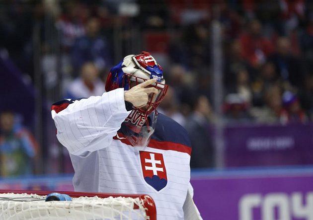 Slovenský brankář Halák prožil proti Slovincům perný zápas.