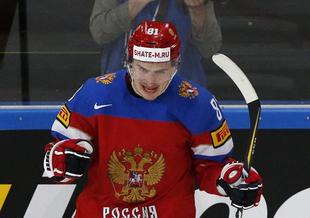 Dmitrij Orlov slaví gól Ruska.
