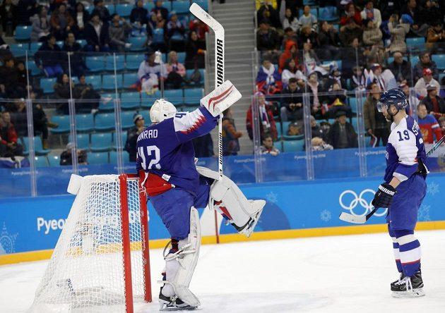 Slovenský gólman Branislav Konrád už ví, že Slovnesko porazilo tým OSR 3:2 na úvod olympiády v Jižní Koreji.