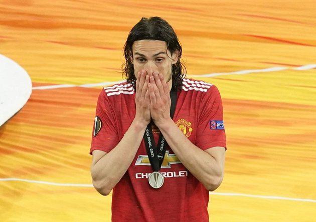 Smutný kanonýr Manchesteru United Edinson Cavani po finále Evropské ligy.