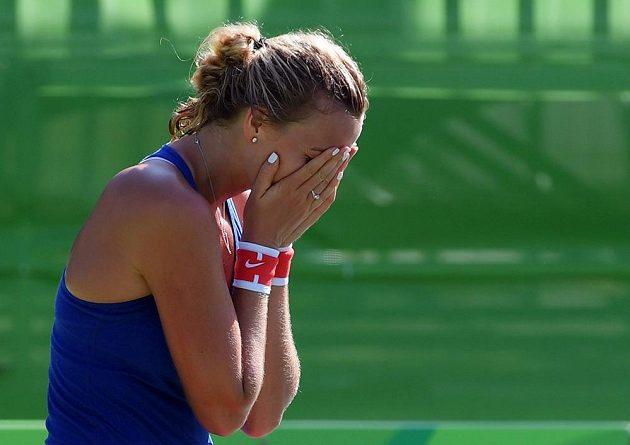 Nával emocí. Petra Kvitová právě vybojovala bronzovou medaili.