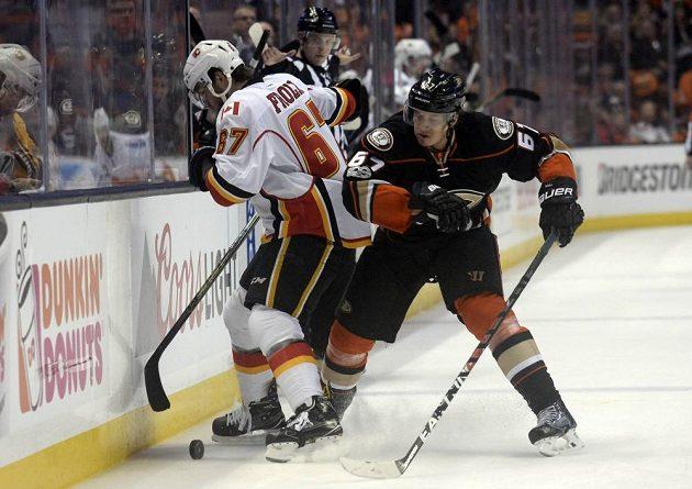 Český útočník Michael Frolík (vlevo) z Calgary bojuje u mantinelu s Rickardem Rackellem z Anaheimu.