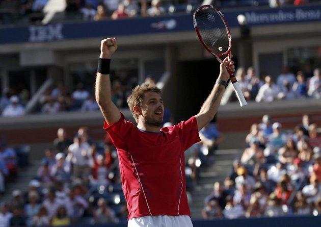 Stanislas Wawrinka slaví poprvé v kariéře postup do semifinále US Open.