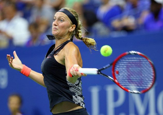 Česká tenistka Petra Kvitová během duelu prvního kola US Open.