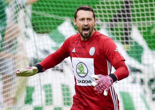 Brankář Mladé Boleslavi Jan Šeda během utkání s Bohemians.