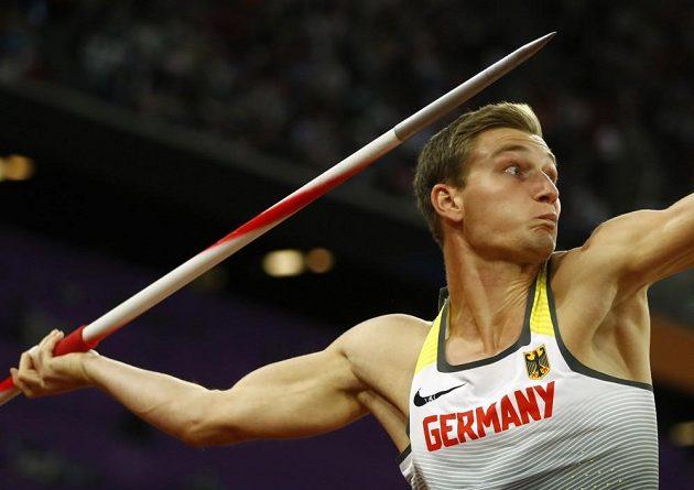 Thomas Röhler v kvalifikaci hodu oštěpem na MS v atletice.