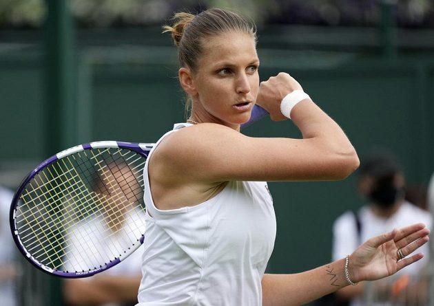 Karolína Plíšková v prvním kole Wimbledonu.