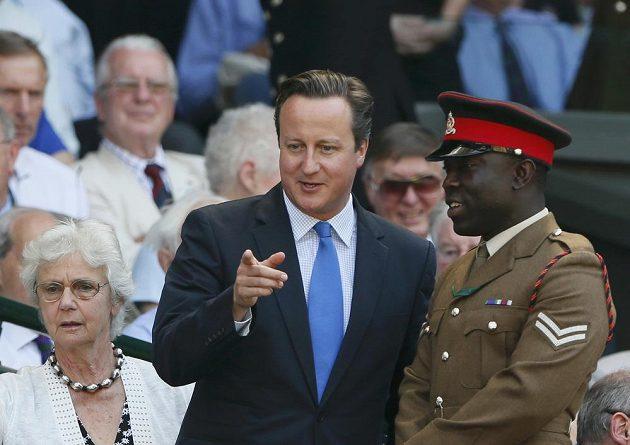Na wimbledonské finále si našel cestu i britský premiér David Cameron (vlevo).