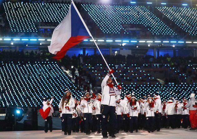 Česká výprava při slavnostním zahájení olympijských her v Jižní Koreji.
