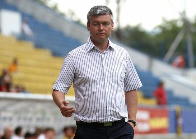 Teplický trenér David Vavruška při utkání s Drážďany.