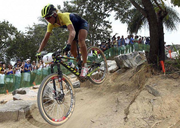 Vítězka olympijského závodu na horských kolech Jenny Rissvedsová ze Švédska.