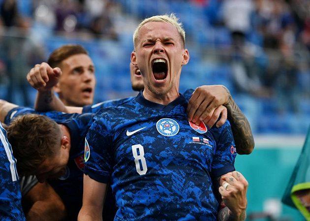 Euphoria.  The Slovak national team member Ondřej Duda celebrates after Milan Škriniar decided the EURO match against Poland.