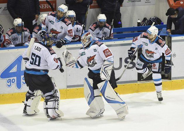 Výměna brankářů Chomutova. Jána Laca (vlevo) střídá Štěpán Lukeš.