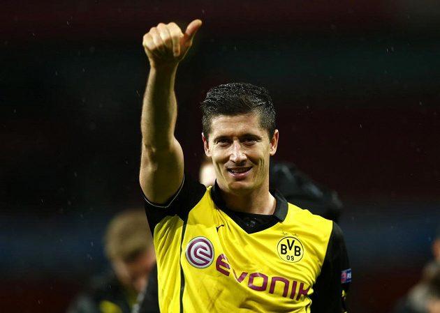 Robert Lewandowski, autor vítězné trefy Dortmundu v duelu s londýnským Arsenalem.