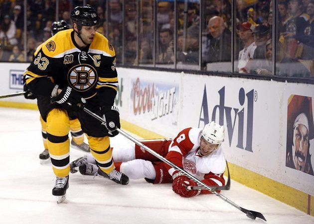 Zdeno Chára odolává ataku ležícího Justina Abdelkadere při zápase Boston - Detroit.