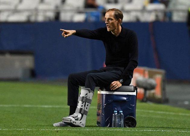 Kouč PSG Thomas Tuchel při semifinále s Lipskem.