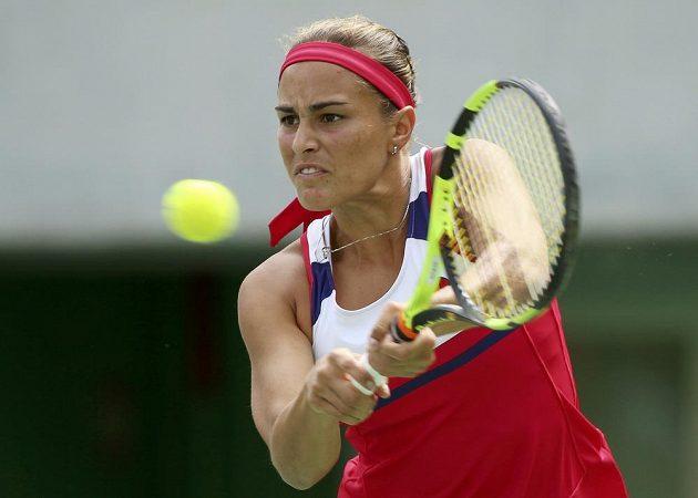 Portoričanka Monica Puigová v semifinálovém utkání proti Petře Kvitové.