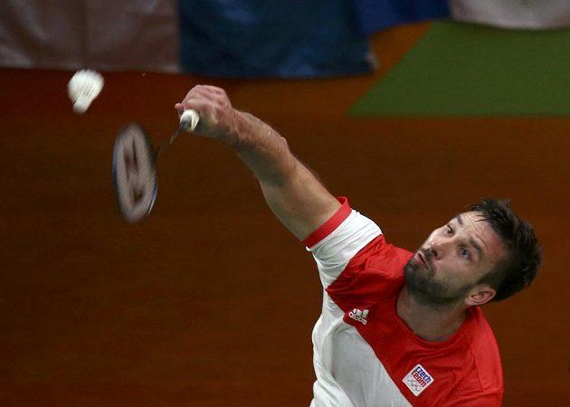 Petr Koukal během utkání s Britem Rajivem Ousephem.
