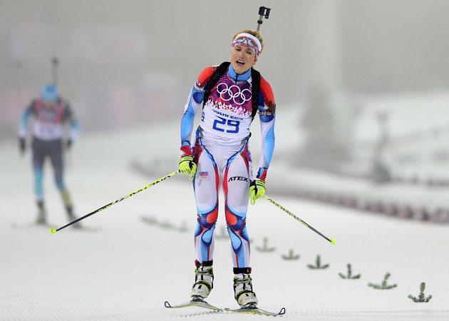 Biatlonistka Gabriela Soukalová byla v cílí stíhacího závodu na 10 km zklamaná, bronz jí unikl jen o kousek.