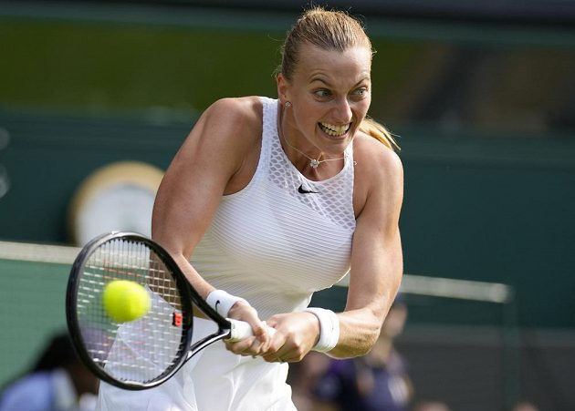 Petra Kvitová in the first round of Wimbledon.
