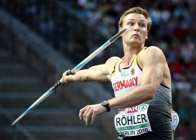 Vítěz soutěže oštěpařů Thomas Röhler z Německa.