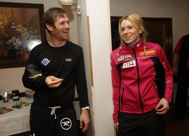 Čeští biatlonisté Michal Šlesingr a Barbora Tomešová při setkání s novináři během MS v Novém Městě na Moravě.
