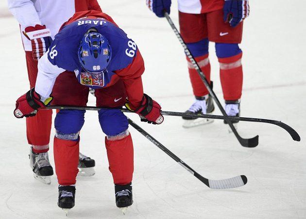 Jaromír Jágr po prohraném utkání s USA.