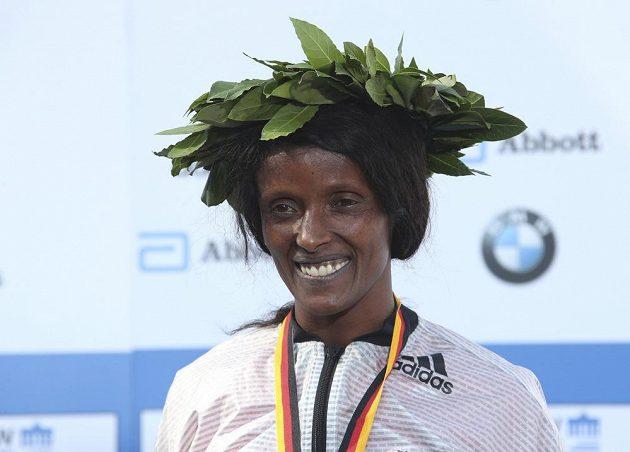 Vítězka Berlínského maratónu Aberu Kebedeová z Etiopie.