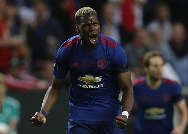 Radost Paula Pogby z Manchesteru United po vstřelení prvního gólu.
